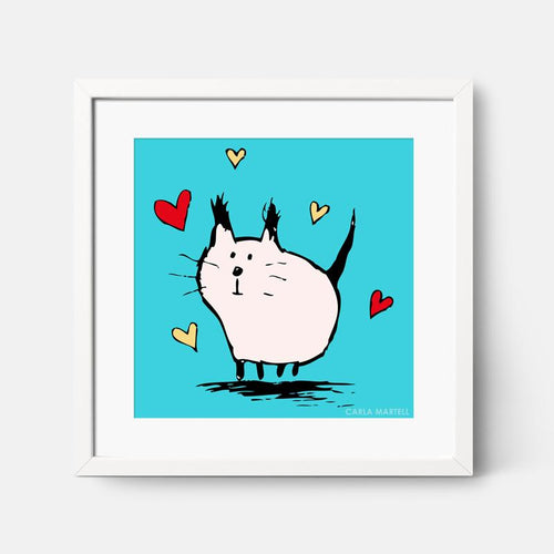 Little Pink Love Cat Art Print | Carla Martell