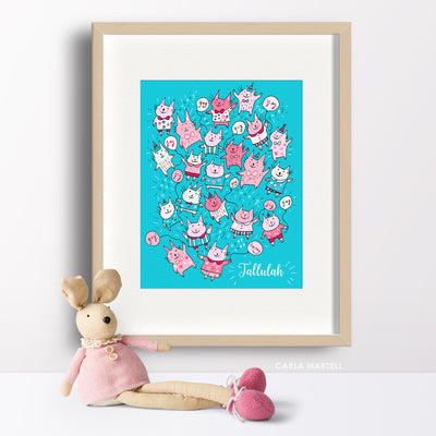 Pink Party Cats Personalised Print for Kids | Carla Martell