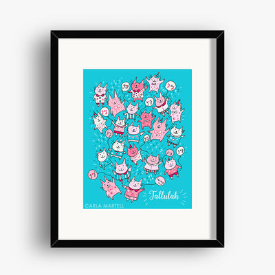 Carla Martell | Pink Party Cats Personalised Print for Kids