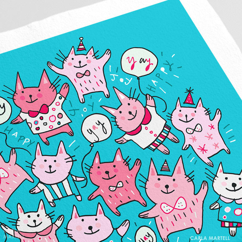 Pink Party Cats Personalised Print closeup | Carla Martell