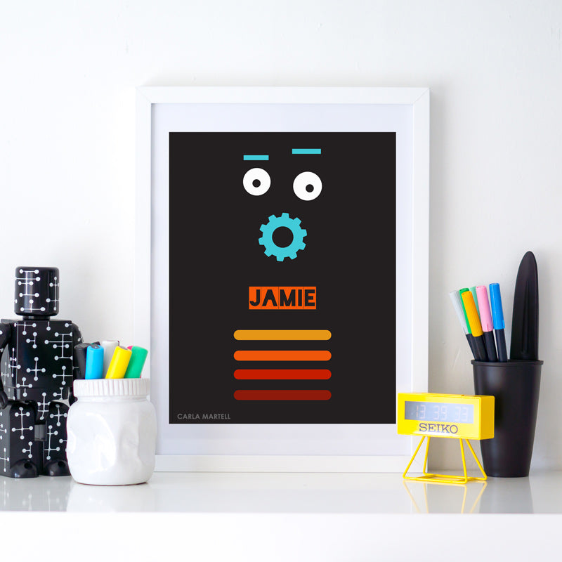 Retro Robot Personalised Print for Kids | Carla Martell