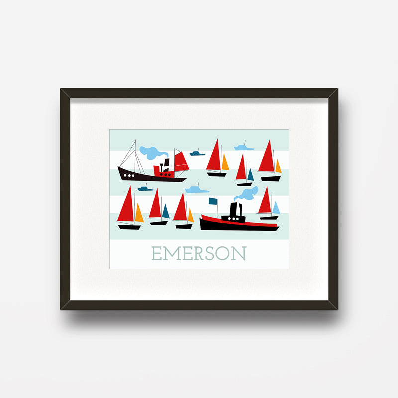 Carla Martell | Retro Ships and Boats Personalised Print