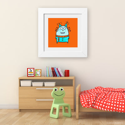 Robot Cat Kid's Art Print | Carla Martell