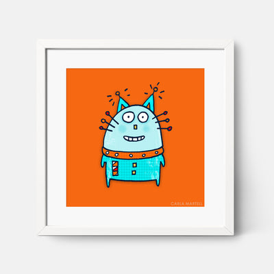 Carla Martell | Robot Cat Art Print for Kids