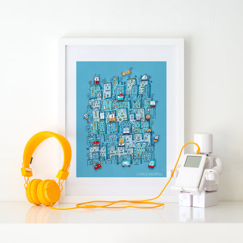 Little Robot City Kids Print by Carla Martell