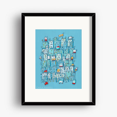 Carla Martell | Little Robot City Art Print for Kids