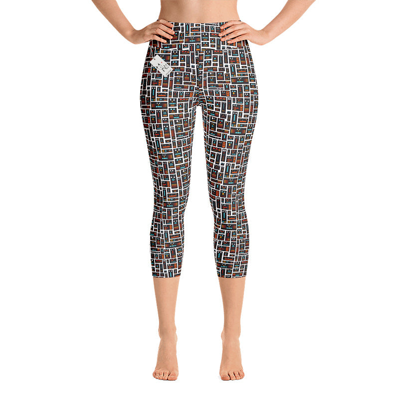 Scruffcat | Robot Friends Yoga Capri Leggings
