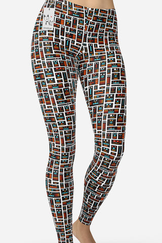 Scruffcat | Robot Friends Yoga Leggings front view
