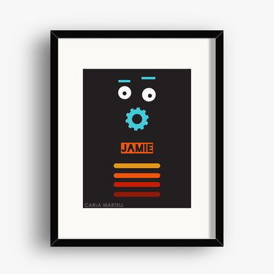 Carla Martell | Retro Robot Personalised Print for Kids