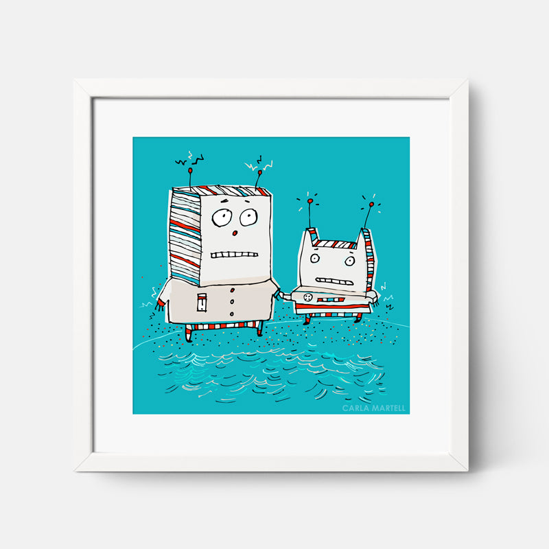 Carla Martell | Robots at the Beach Art Print