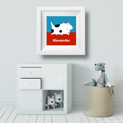 Silly Spotted Dog Kids Personalised Wall Art | Carla Martell