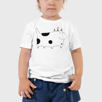 Silly Spotted Dog Kids T Shirt shown on toddler | Carla Martell