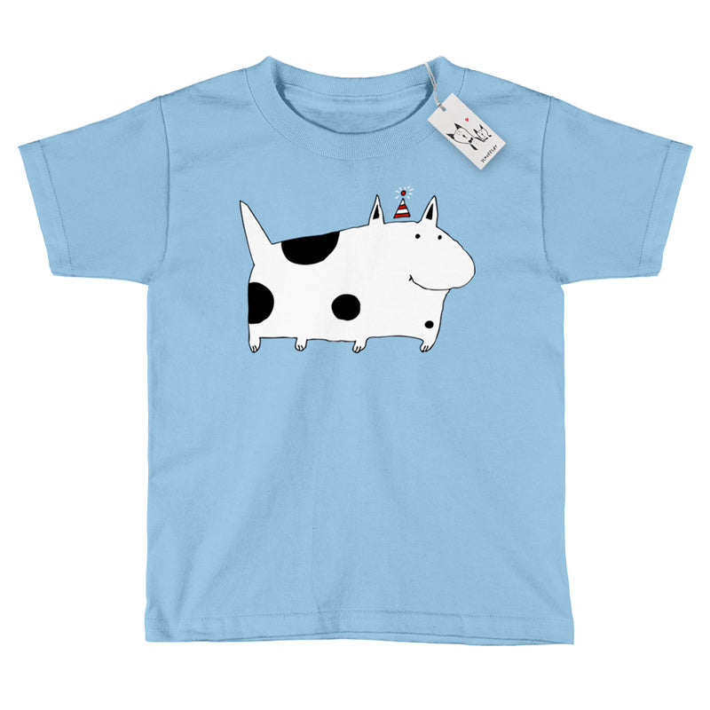 Scruffcat | Silly Spotted Dog Youth T Shirt | Light Blue