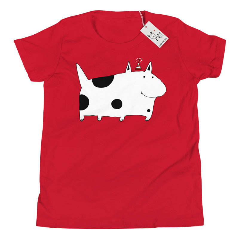 Carla Martell | Silly Spotted Dog Youth T Shirt | Red