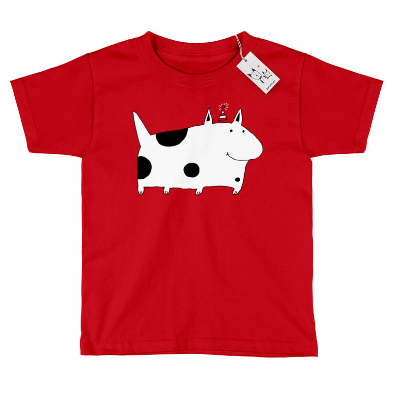 Scruffcat | Silly Spotted Dog Youth T Shirt | Red