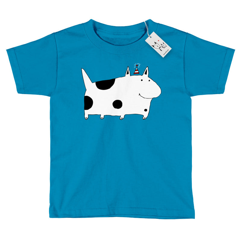 Scruffcat | Silly Spotted Dog Youth T Shirt | Sapphire