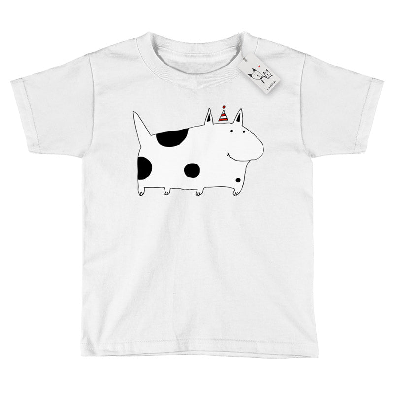 Scruffcat | Silly Spotted Dog Youth T Shirt | White
