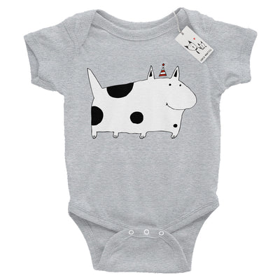 Carla Martell | Silly Spotted Monster Dog Baby Bodysuit | Heather