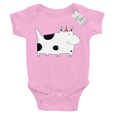 Carla Martell | Silly Spotted Monster Dog Baby Bodysuit | Pink