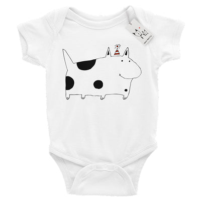 Carla Martell | Silly Spotted Monster Dog Baby Bodysuit | White