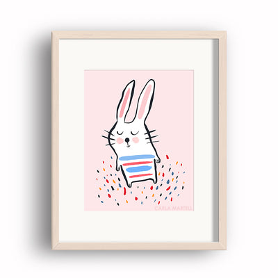Carla Martell | Sleepy Bunny Children's Art Print | Pink