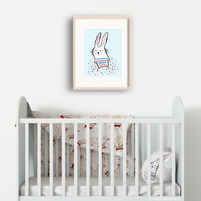 Stripy Bunny Blue Nursery Print for Kids | Carla Martell