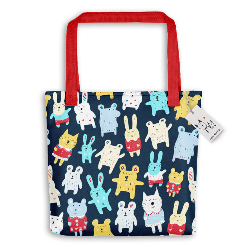 Carla Martell | Sleepytime Toys Kids Tote Bag | Red handles