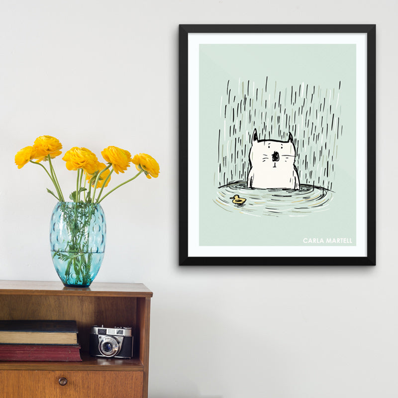 Soggy Cat Illustrated Art Print by Carla Martell