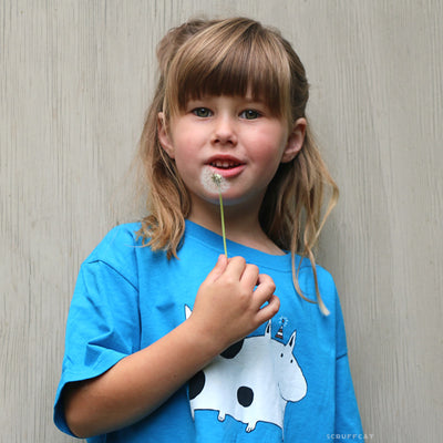 Silly Spotted Dog Youth T Shirt on girl | Scruffcat