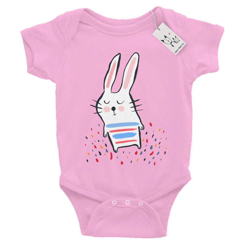 Carla Martell | Stripy Bunny Baby One Piece | White