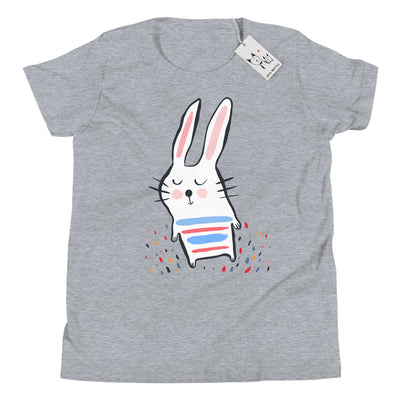 Carla Martell | Stripy Bunny Youth T Shirt | Athletic Heather
