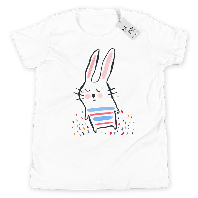 Carla Martell | Stripy Bunny Youth T Shirt | White