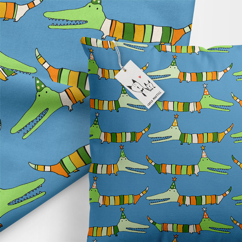 Stripy Crocodile Kids Pillow by Carla Martell