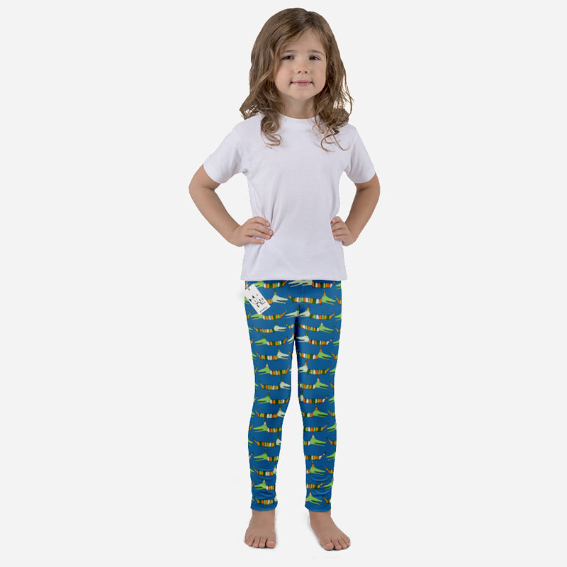 Carla Martell | Mr Stripy Crocodile Kids Leggings front view