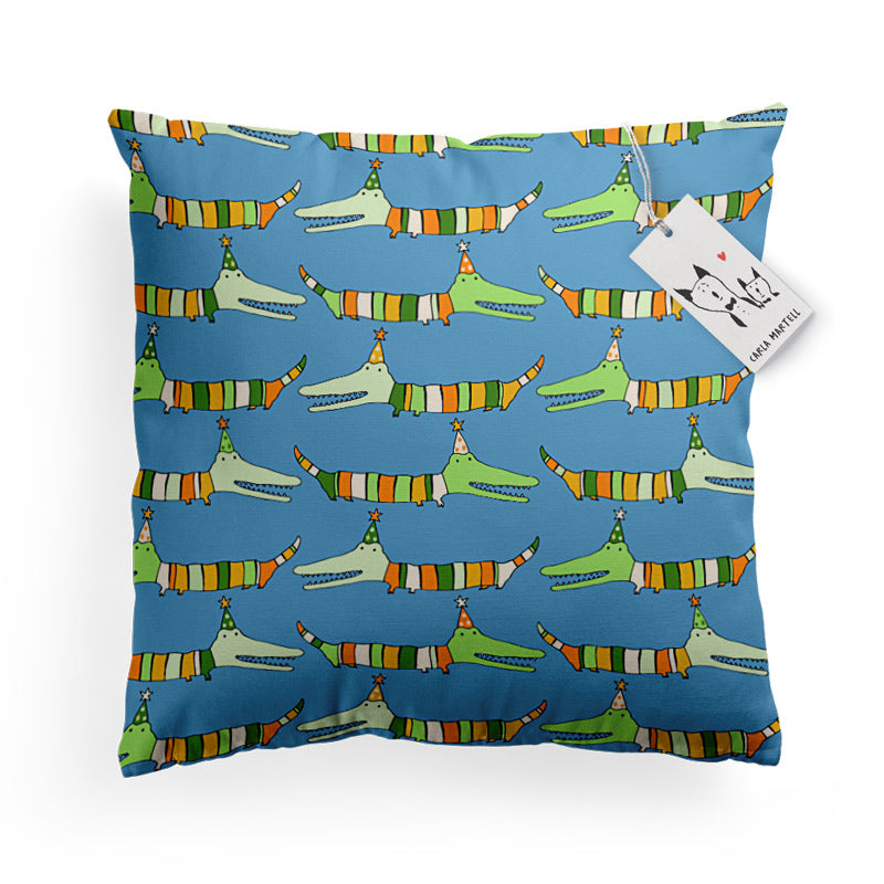 Carla Martell | Mr Stripy Crocodile Kids Pillow