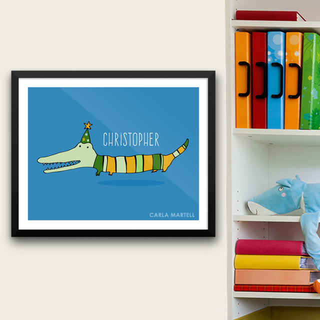 Mr Stripy Crocodile Personalised Print for Kids | Carla Martell
