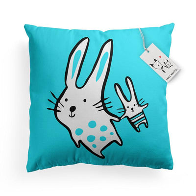 Carla Martell | Big Bunny, Little Bunny Aqua Kids Pillow