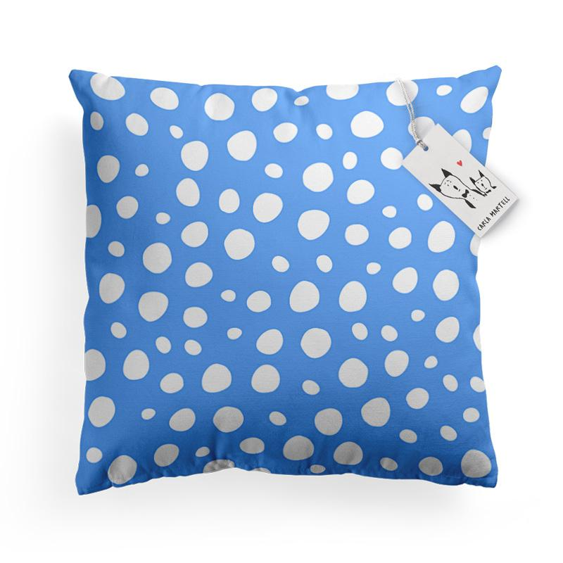 Carla Martell | Blue Polka Dot pattern on Bunny Pillow