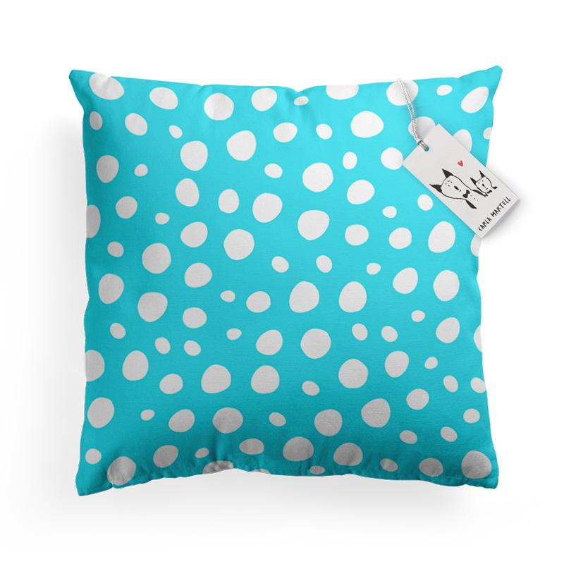 Carla Martell | Aqua Polka Dot pattern on Bunny Pillow