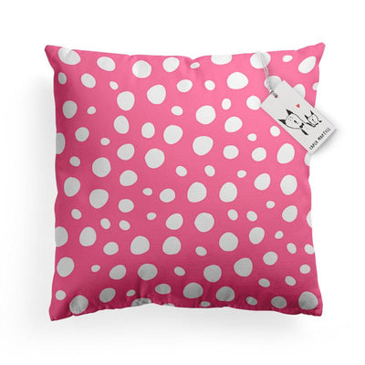 Carla Martell | Pink Polka Dot pattern on Bunny Pillow
