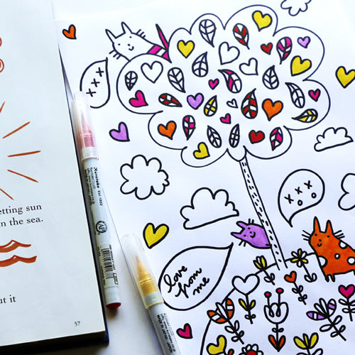 Valentine Cats Colouring Page | Carla Martell