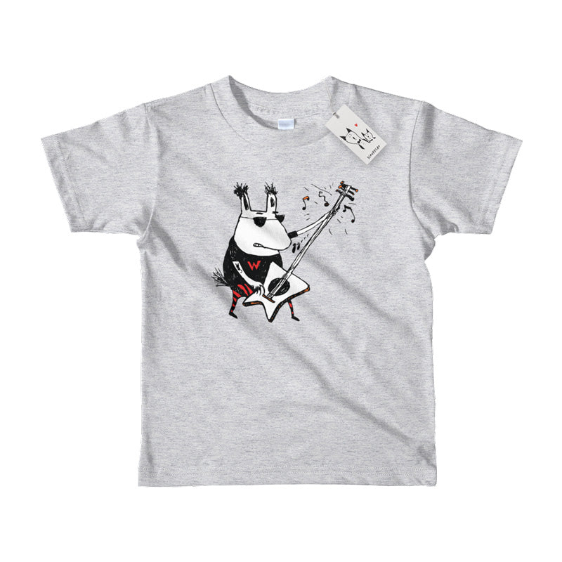 Scruffcat | Wild Guitar Wolf Kids T Shirt | Heather Grey