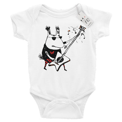 Scruffcat | Wild Guitar Wolf Baby One Piece | White