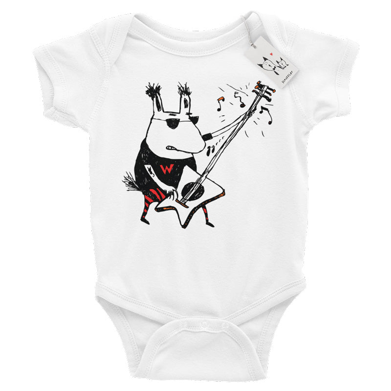 Scruffcat | Wild Guitar Wolf Baby One Piece | Heather