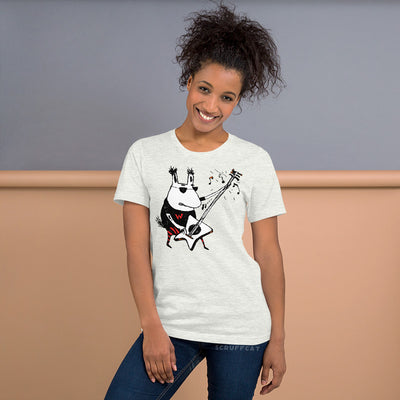 Wild Guitar Wolf T Shirt on model | Scruffcat