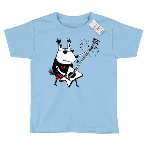 Scruffcat | Wild Guitar Wolf Youth T Shirt | Blue