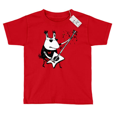 Scruffcat | Wild Guitar Wolf Youth T Shirt | Red