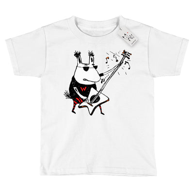 Scruffcat | Wild Guitar Wolf Youth T Shirt | White