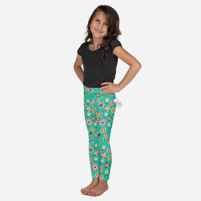Scruffcat | Wild Flowers Kids Leggings front view