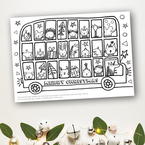 Christmas Bus Colouring Page | Carla Martell
